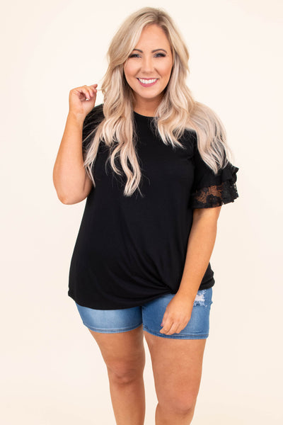 shirt, short sleeve, twisted hem, lace sleeves, loose, black, comfy