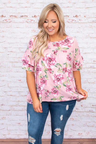 shirt, top, short sleeve, ruffle sleeves, floral, loose, comfy, pink, white, green