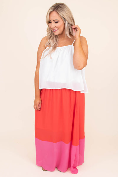 dress, maxi, sleeveless, spaghetti straps, flowy, colorblock, pink, red, white, comfy, spring, summer