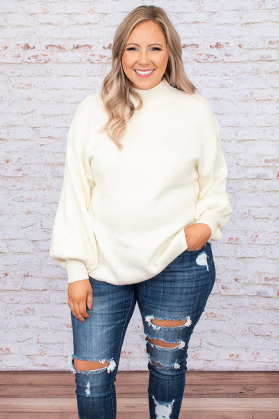 top, sweater, white, solid, bubble sleeve