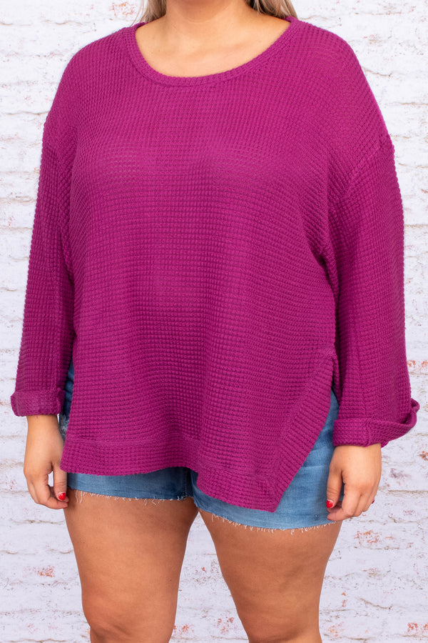 shirt, top, long sleeve, sweater, light weight, cuffed sleeves, loose, comfy, raspberry, pink, purple