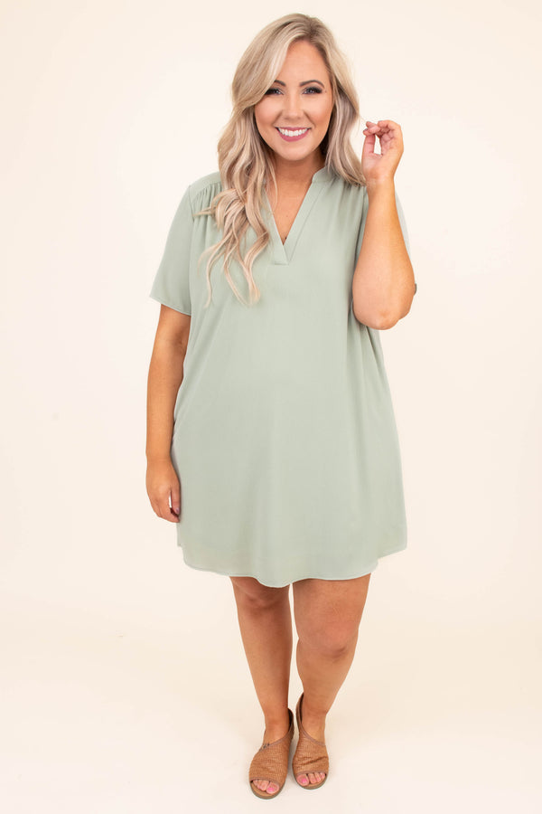 dress, short, short sleeve, vneck, collared, flowy, green, comfy