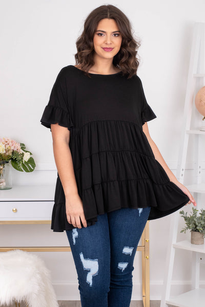 shirt, short sleeve, ruffle sleeves, babydoll, tiered, flowy, long, black, comfy