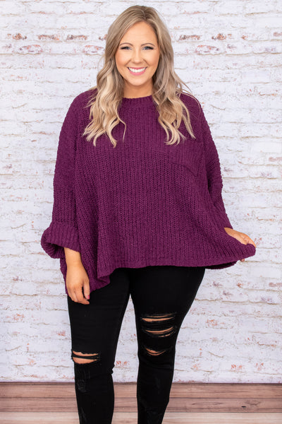 top, sweater, purple, plum, solid, three quarter sleeve, 3/4, flowy, oversized, pocket