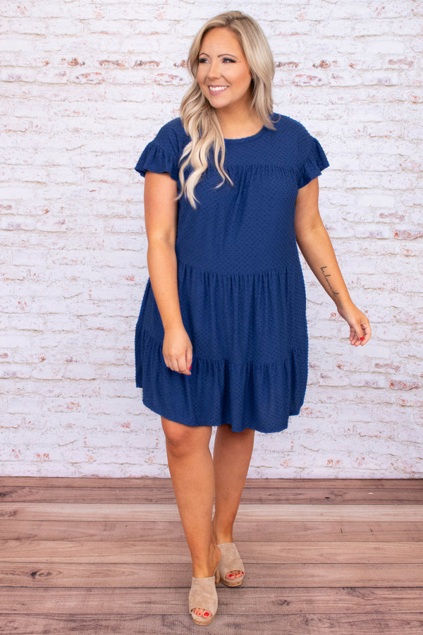 dress, short dress, baby doll, swiss dot, royal blue, blue, short sleeve, loose, comfy
