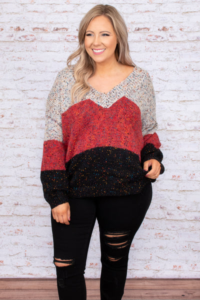 top, sweater, red, black, grey, colorblock, bubble sleeve, warm, winter