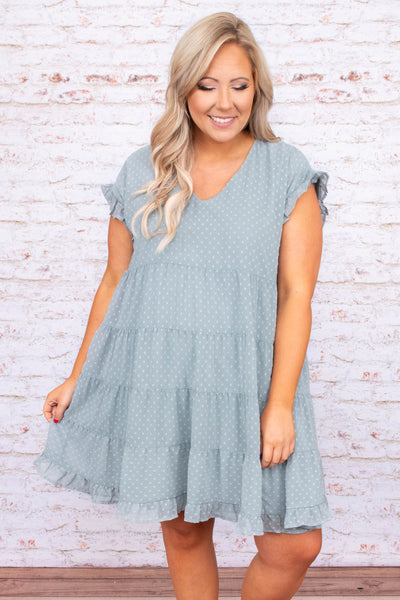 dress, baby doll, swiss dot, polka dot, short sleeve, knee length, v neck, blue grey, loose, comfy