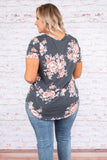 shirt, short sleeve, vneck, curved hem, long, gray, pink, floral, comfy