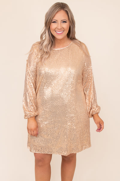 dress, special occasion, party dress, gold, sequin, bubble sleeve, holiday party, New Years