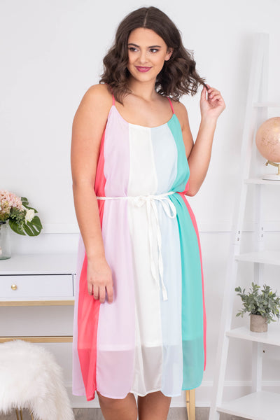 dress, short, sleeveless, spaghetti straps, tie waist, curved hem, white, pink, blue, mint, coral, striped, comfy, spring, summer