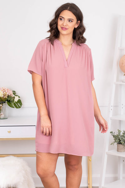 dress, short, short sleeve, vneck, collared, loose, pink, comfy