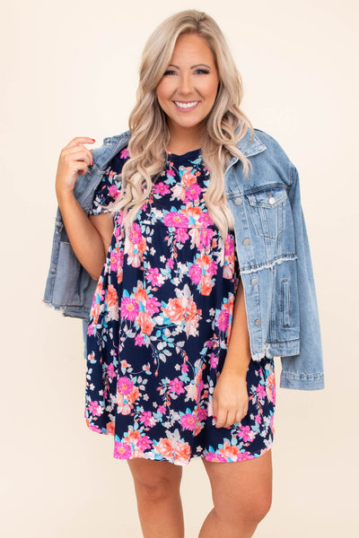 dress, short dress, baby doll, loose, comfy, short sleeve, floral, navy, blue, pink