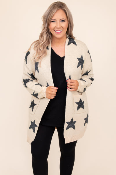 top, cardigan, brown, tan, sand, stars, long sleeve, comfy, warm, casual, layer