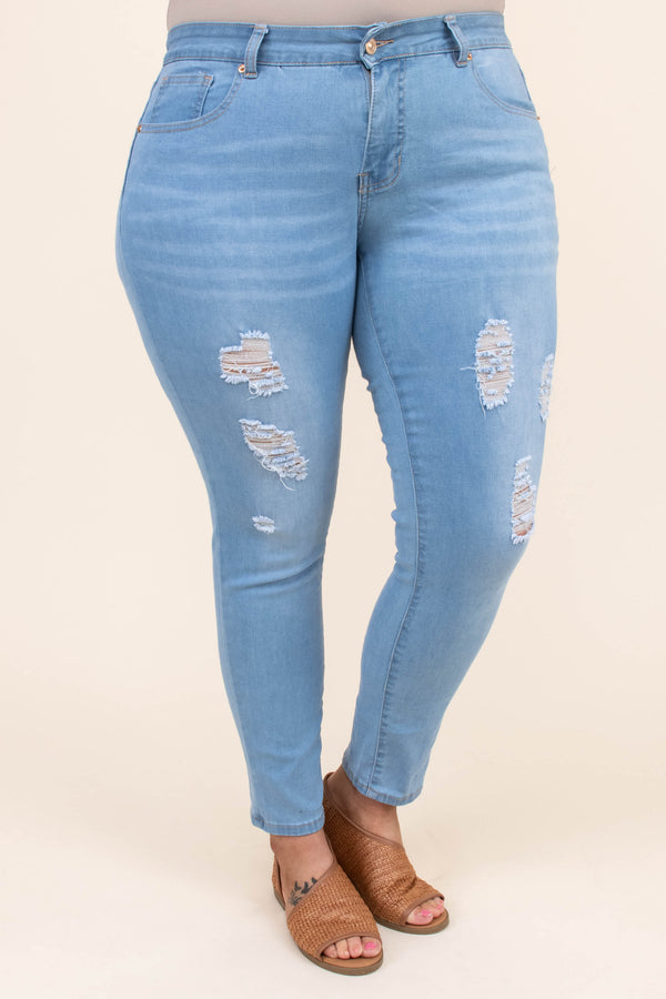jeggings, long, skinny, light blue, faded, ripped, distressed