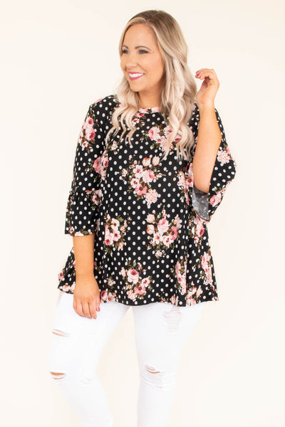 top, blouse, short sleeve, polka dots, floral, black, bell sleeve. peplum fit
