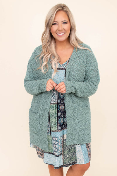 cardigan, loose, comfy, light green, soft, pockets, open front, long, long sleeve