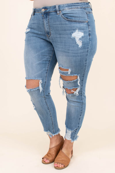 jeans, skinny, long, light blue, distressed, faded, ripped, frayed hem