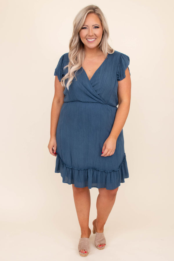 dress, wrap top, short dress, short sleeve, ruffle detailing, v neck, ruffle sleeves, blue, loose, comfy
