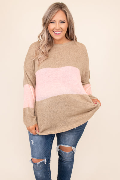 top, sweater, colorblock, long sleeve, stripe, taupe, pink, light pink, comfy, casual