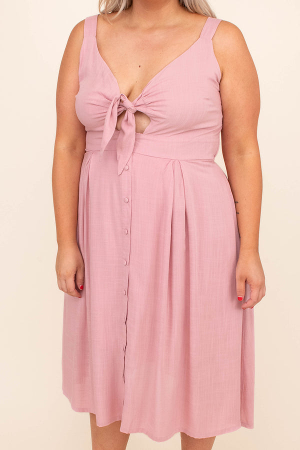 dress, midi dress, tie front, pink, sleeveless, tank, loose, comfy, spring, summer, button front skirt
