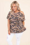 shirt, short sleeve, one cold shoulder, long, loose, curved hem, brown, green, black, tan, camo, comfy