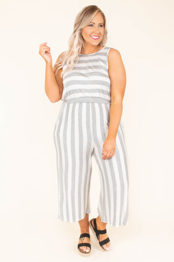 jumpsuit, sleeveless, cropped pants, wide leg, v back, gray, white, striped, comfy