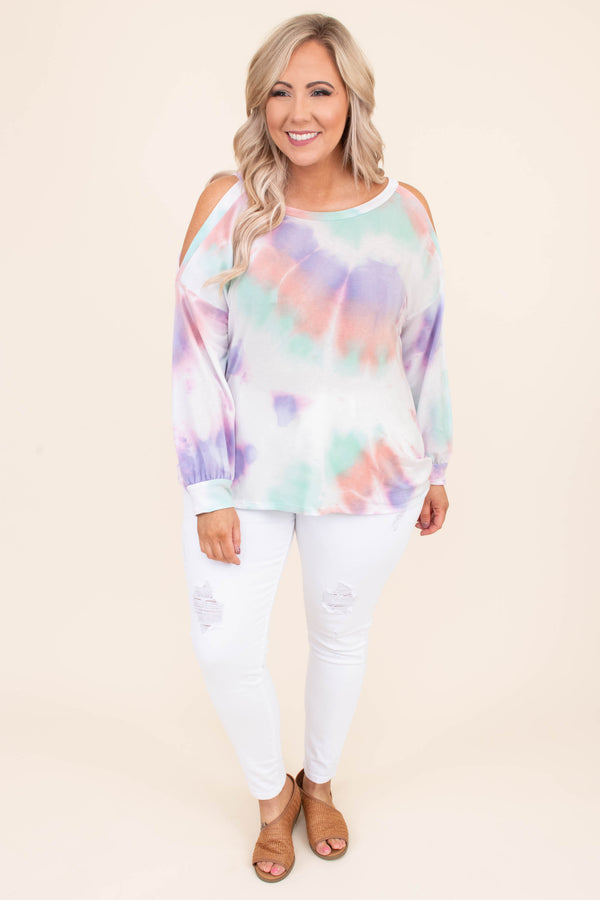 shirt, long sleeve, cold shoulders, bubble hem, curved hem, loose, white, mint, mauve, purple, tie dye, comfy