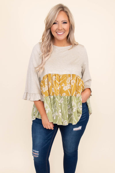 shirt, top, baby doll, floral, print, oatmeal, mustard, sage, three quarter sleeve, ruffle sleeve detailing, loose, comfy