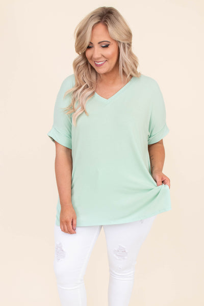 shirt, short sleeve, vneck, long, loose, side slits, mint, comfy