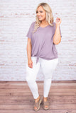 top, casual top, purple, short sleeve, tie top, v neck