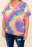 shirt, top, v neck, short sleeve, lilac, pink, yellow, loose, comfy, tie dye