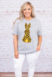 tshirt, short sleeve, loose, long, gray, graphic, bunny, leopard print, yellow, brown, black, comfy