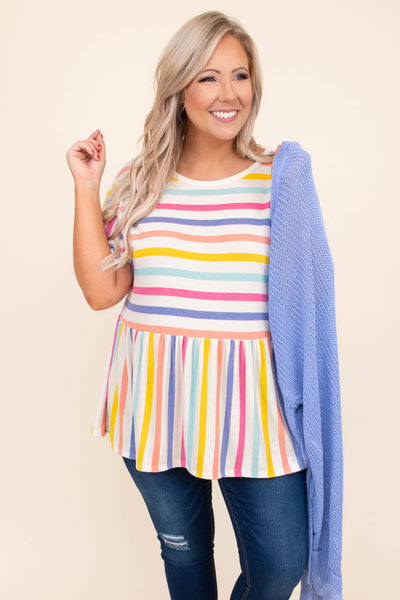 shirt, top, short sleeve, baby doll, striped, colorful, multi