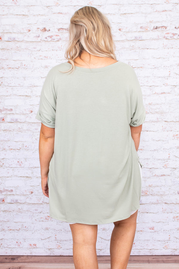 shirt, short sleeve, vneck, long, loose, side slits, green, comfy