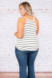 top, tank top, white, black stripe, flowy, summer