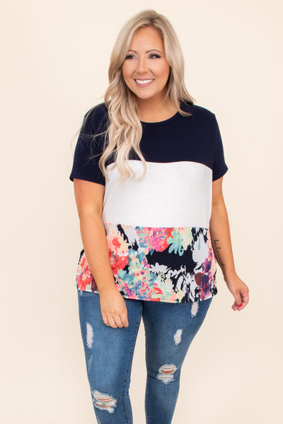 navy, color block, short sleeve, floral, top, round neck, figure flattering, trendy