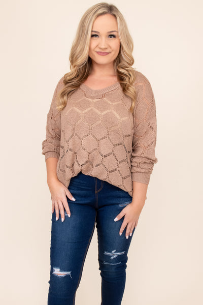 top, sweater, brown, lace, bubble sleeve, mocha, tan, v neck, patterned