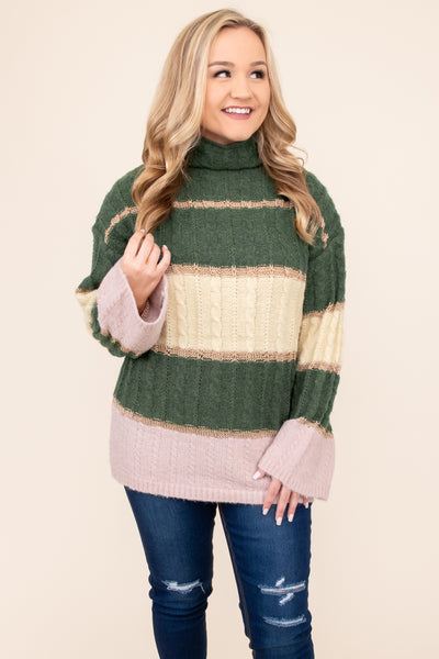 top, sweater, green, hunter green, pink, striped, long sleeve, turtleneck, warm, winter