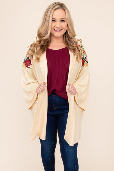 top, cardigan, embroidered, half sleeve, layering, red, brown