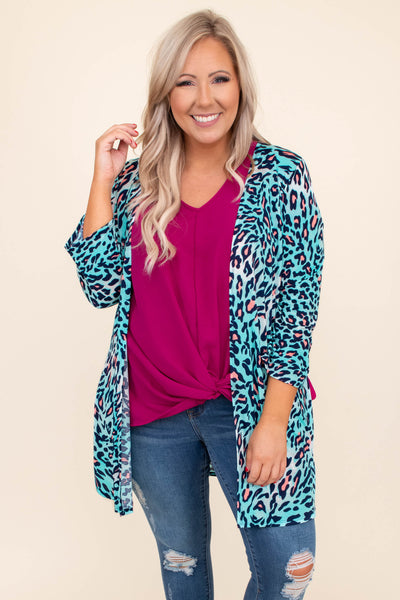 kimono, open front, three quarter sleeve, light weight, mint, leopard, pink, loose, comfy, long