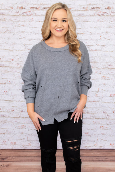top, sweater, grey, heather grey, distressed, long sleeve, round neck, winter