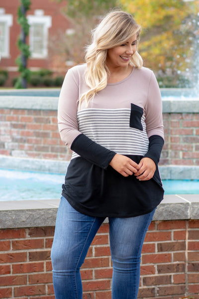 shirt, long sleeve, curved hem, scoop neck, chest pocket, taupe, black, gray, white, stripes, colorblock, comfy, fall, winter