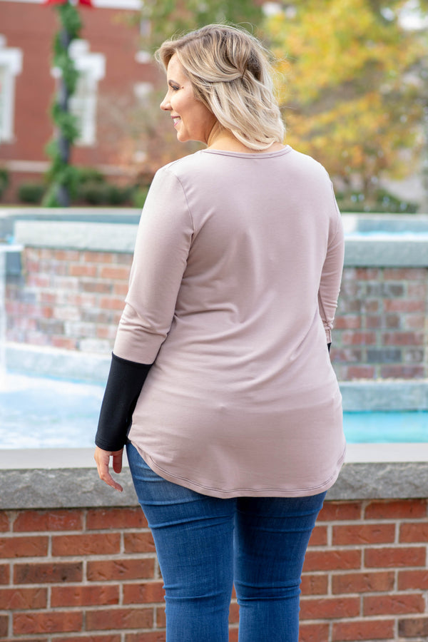 Blocked Off Top, Taupe-Black