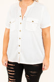 shirt, short sleeve, button down, front pockets, gold snaps, white, solid, vneck, comfy