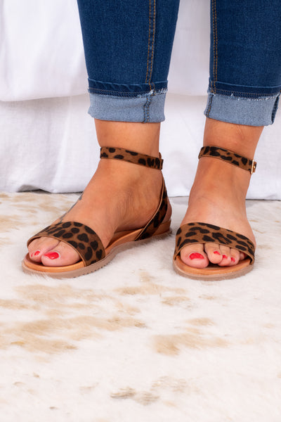shoes, sandals, leopard, brown, flat, ankle strap, toe strap