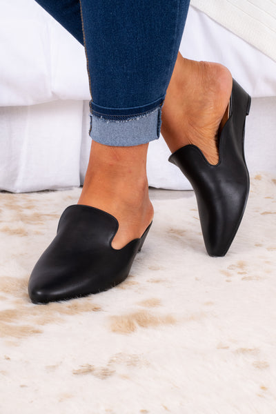 shoes, flats, mules, black, closed toe, wedge
