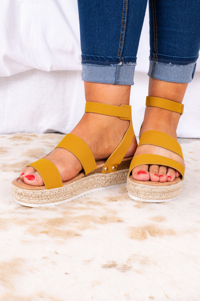 shoes, sandals, espadrille, strappy, mustard