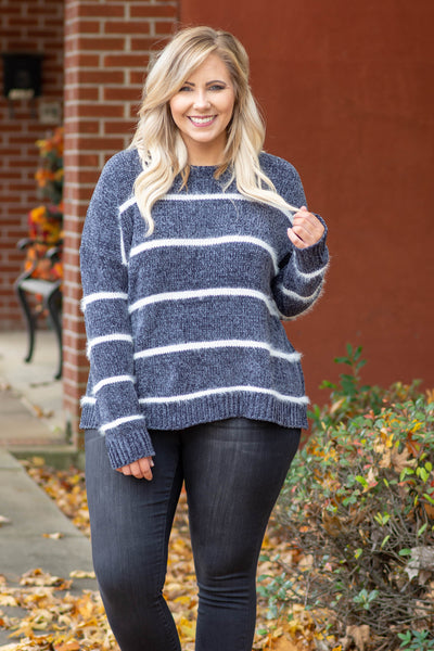 top, sweater, long sleeve, charcoal, ivory, stripes, cozy, comfy