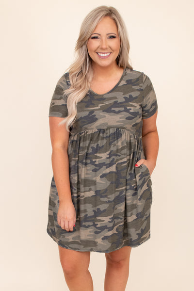 baby doll, pockets, camo, v neck, comfy, figure flattering, short sleeve, short, neutral, dress