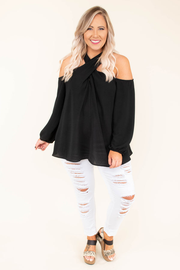 shirt, long sleeve, cold shoulder, twisted neckline, bubble sleeves, flowy, black, solid